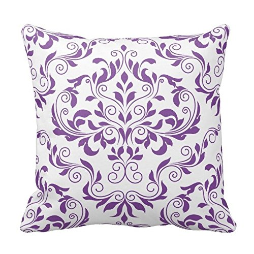 Purple and White Floral Pattern Throw Pillow Case Covers Flower Design Home Sofa Decorative Square 18x18 Two Sides
