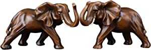 A Pair of Lucky Feng Shui Elephant Animal Statue Ornaments, Brown Elephants Sculpture, Home Decor Accent, Home Decoration
