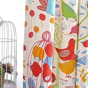 FADFAY Home Textile,Cute Cartoon Birds Print Kids Curtains,Shabby ...