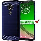 Moto G7 Play Case, HNHYGETE Soft Slim Shockproof Anti-Fingerprint Full Protective Phone Cases for Motorola Moto G7 Play (Blue