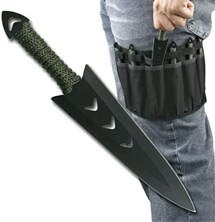 6 pcs. Ninja Naruto Tactical Combat Hunting Kunai Throwing Knife Set w/ Sheath Case