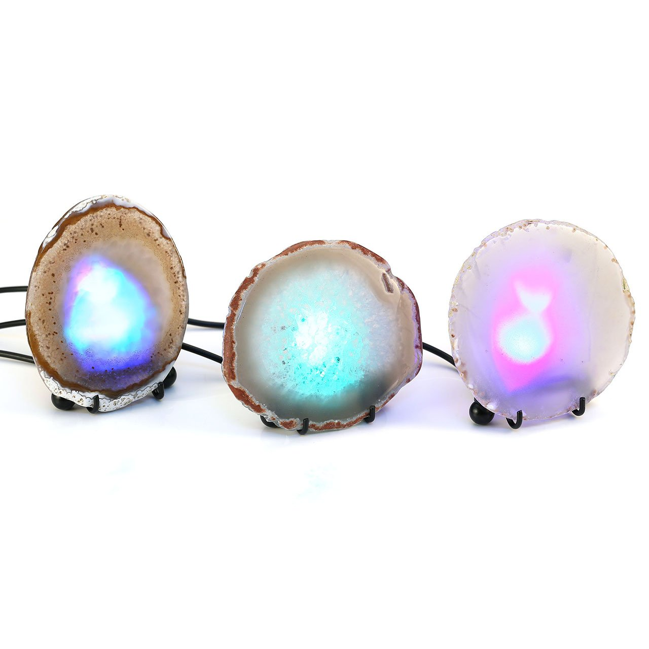 Dyed Blue Mineral Rock Geode Druzy Slice LED Night Lamp Desk Table Lamp W//USB Interface QGEM Natural Agate Slice Nightlight