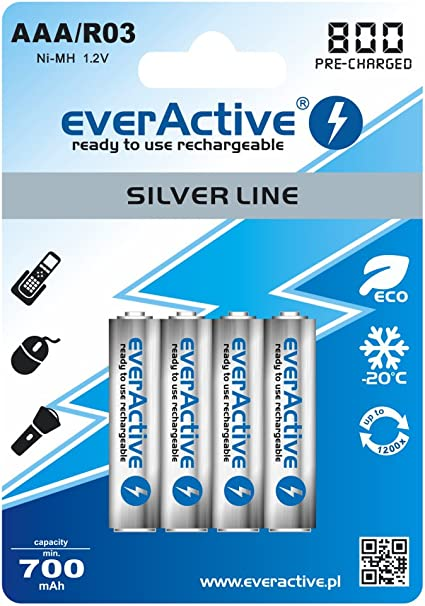 4 Silver Line Everactive Aaa Battery 800 Mah Nimh Camera Photo