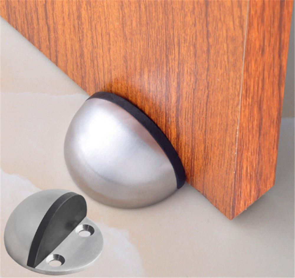 Floor Door Stoppers - EvaGO Stainless Steel Safety Door Stopper with Rubber Bumper, Floor Mounted Doorstop with Hardware Screws and 3M Adhesive, Heavy Duty Brushed Finish Door Stop (5) by EvaGO (Image #7)