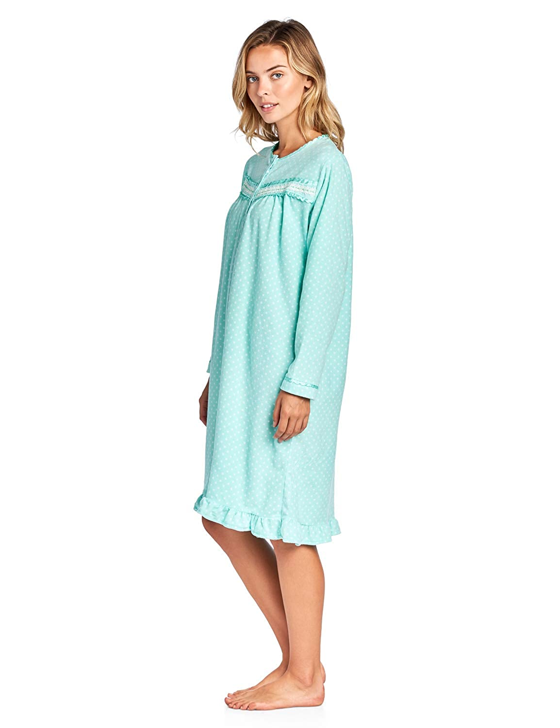 Casual Nights Women s Cozy Long Sleeve Fleece Nightgown at Amazon Women s  Clothing store  3d8c2f850