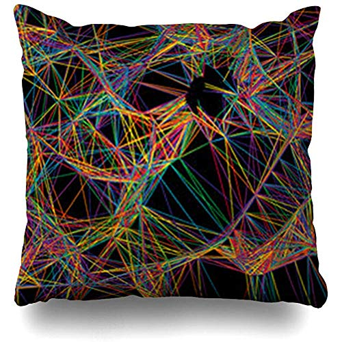 Throw Pillow Covers Bright Orange Pattern Abstract Tech Geometric Red Line Stripe Modern Dynamic Net Rainbow Pillowcase Square Cute 18 x 18 Inches Home Decor Cushion Cases