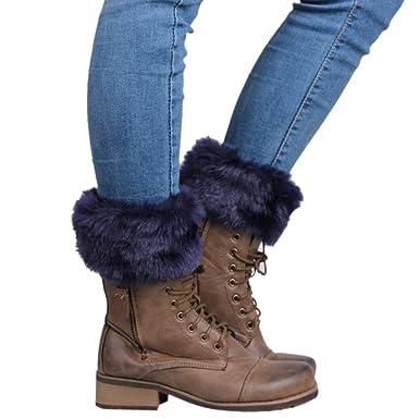 Samber Calentadores de Piernas de Invierno para Mujer Calcetines para Botas Accesorio para Botas (Azul