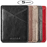 Phone Card Holder Aroko Silicone 3M Adhesive Stick-on ID Credit Card Wallet Phone Case Pouch Sleeve Pocket for Most of Smartphones(iPhone/Android /Samsung Galaxy) - (Multi Colors5pc)