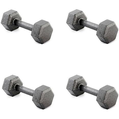 Weider hierro fundido Hexagonal recubierto con moleteada agarre, 4 unidades