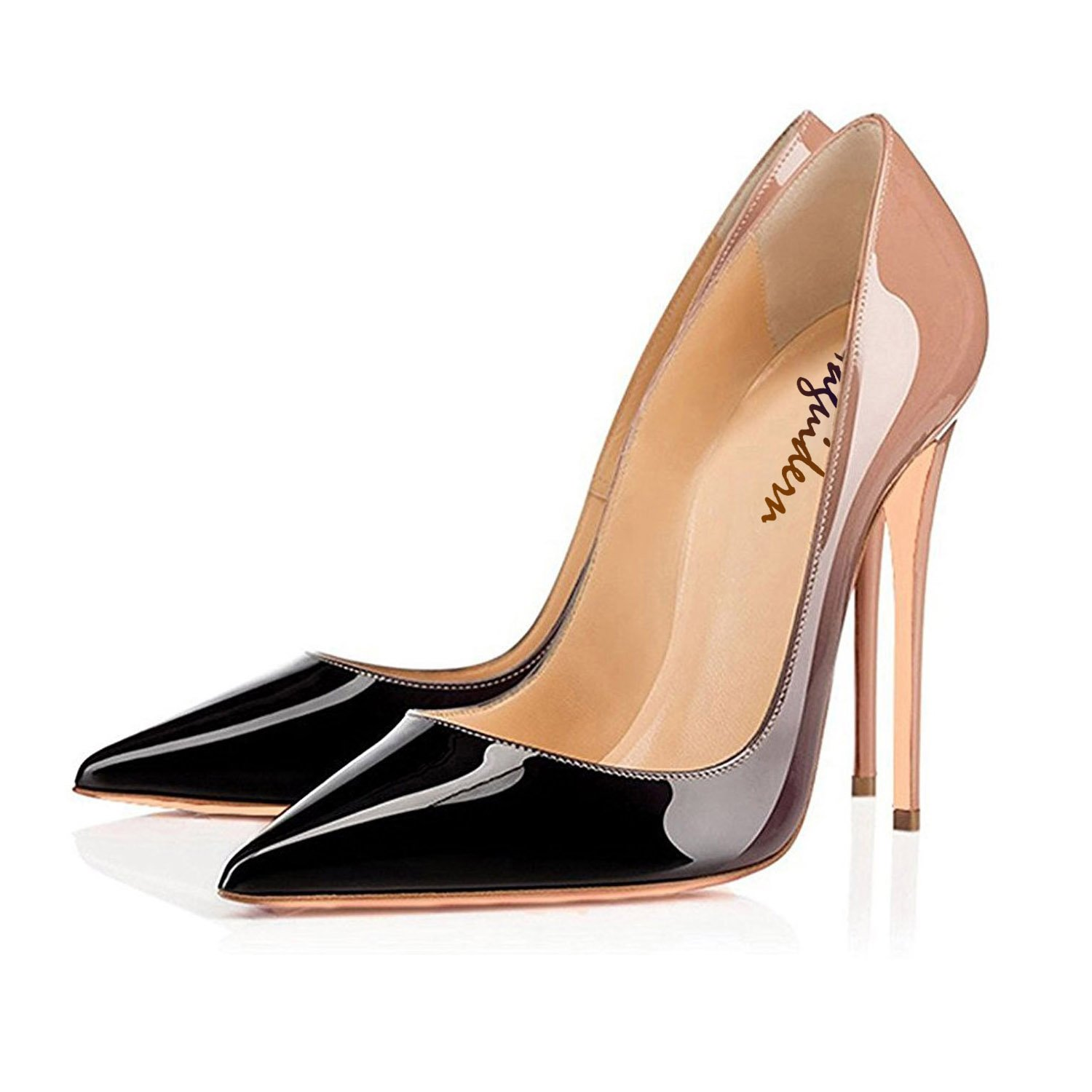 Maguidern Patent Leather Pumps Shoes Shoes Shoes Women's 5 inches Sexy High Heel Shoes Pointed Toe Party Dress Pumps B07C7GYYY8 12 B(M) US|Nude-black fe82d0