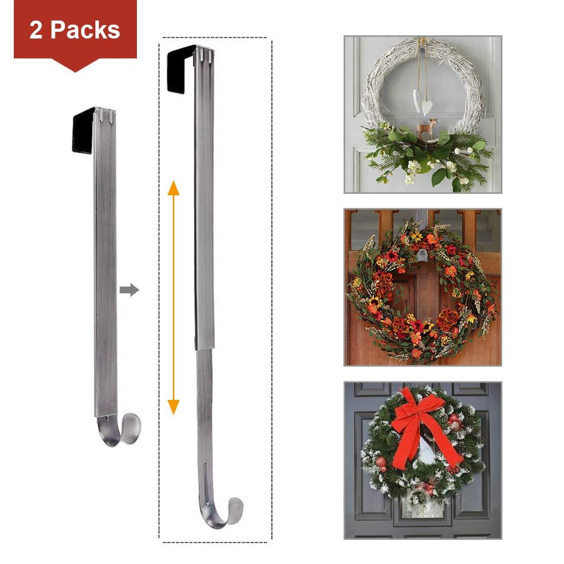 LBSUN Wreath Hanger, Adjustable Over The Door Wreath Hanger & Wreath Holder & Wreath Hook for Door (2-Pack Nickel) by LBSUN
