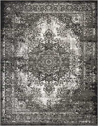 Nourison Aria Oriental Vintage Area Rug, 7 Feet 10 Inches by 10 Feet 7 10 x 10 , Charcoal Grey