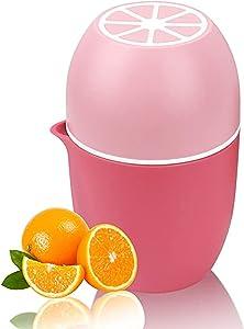 Fankle Manual Juicer Portable Hand Juicer Orange Citrus Squeezer for Lemon Lime Grapefruit Watermelon, Hand Squeezer Lemon Orange Juicer Manual Fruit Press Juice Tool(Pink,5.93.93.9 inch)