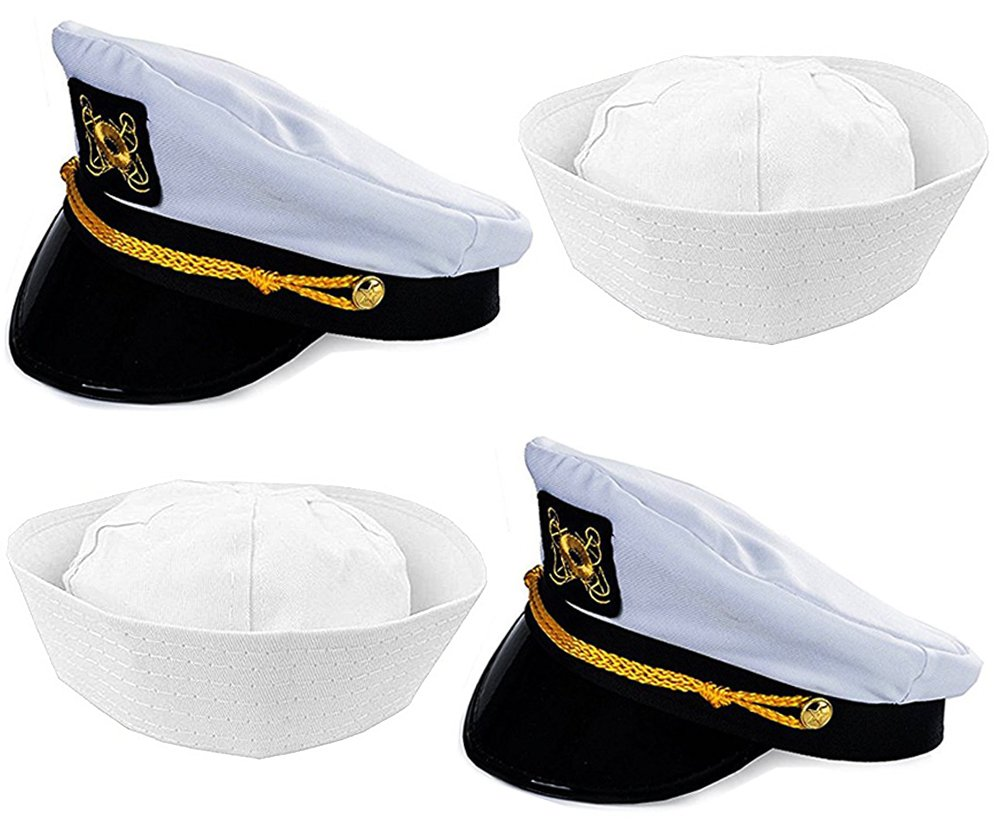 Funny Party Hats Captain Hat and Sailor Hat - 4 Pack - Captain Yacht Hat - Sailor Hats - Dress Up Hats by Funny Party Hats