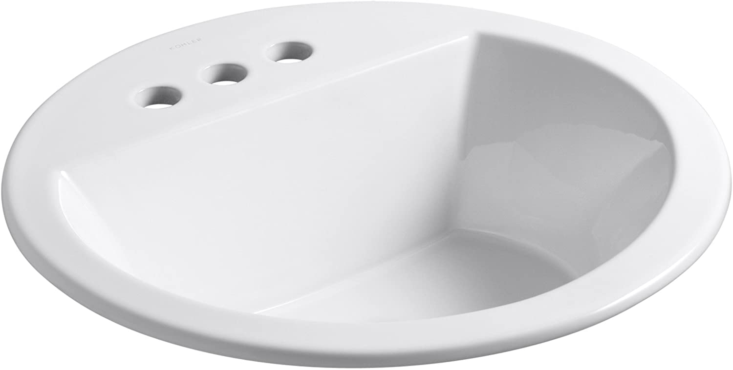 Kohler K-2714-4-0 Vitreous china Drop-In Arch Bathroom Sink, 21 x 21 x 10 inches, White