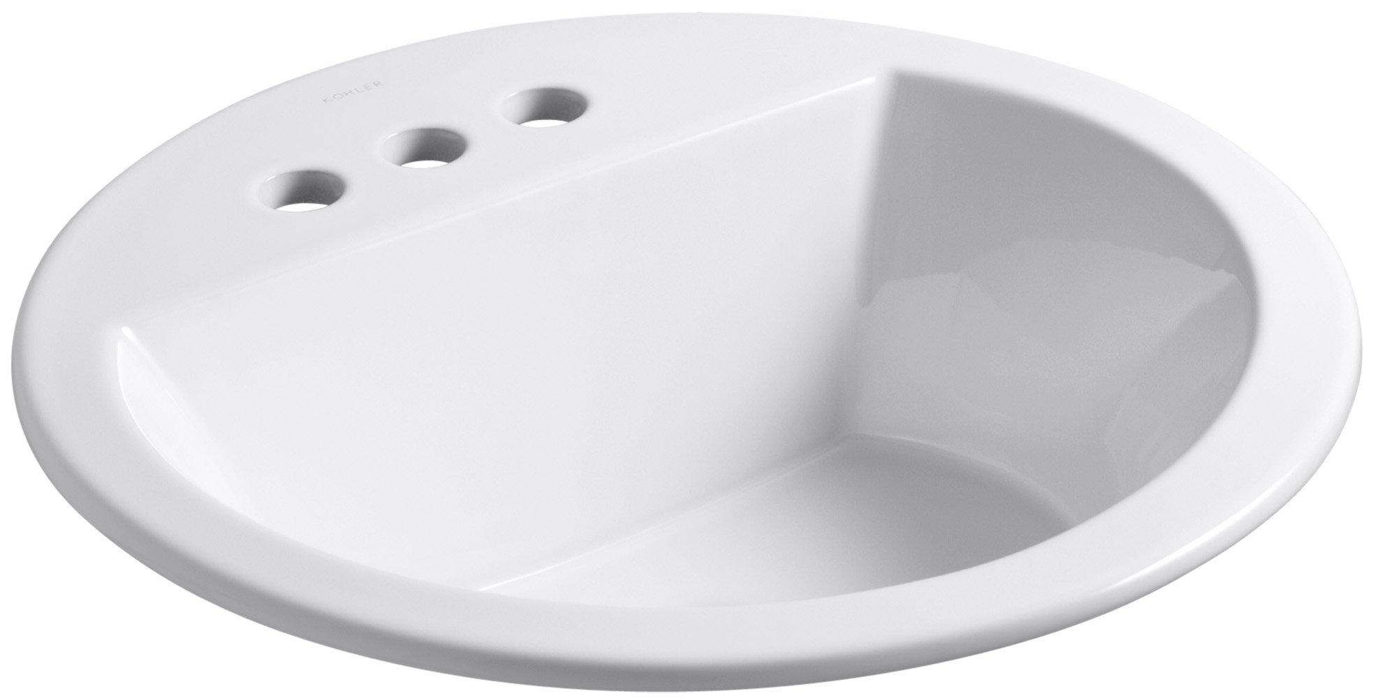 KOHLER K-2714-4-0 Bryant Round Self-Rimming Bathroom Sink with 4-Inch Centers, White
