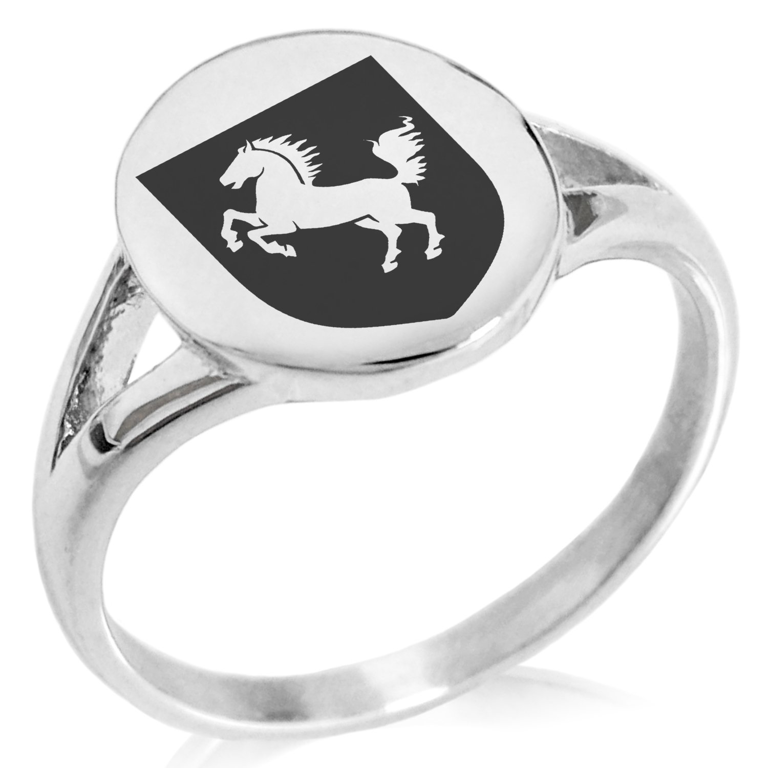 Tioneer Stainless Steel Horse Battle Coat of Arms Shield Symbol Minimalist Oval Top Polished Statement Ring, Size 7