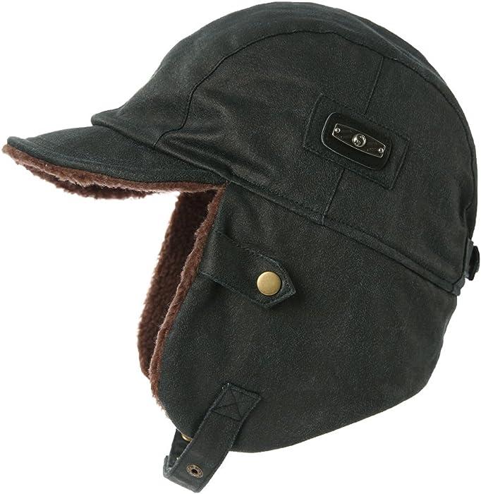 Aviator Hat Leather Women Pilot Cap Adult Men Winter Trooper Trapper Navy  Unisex e6ed720d137