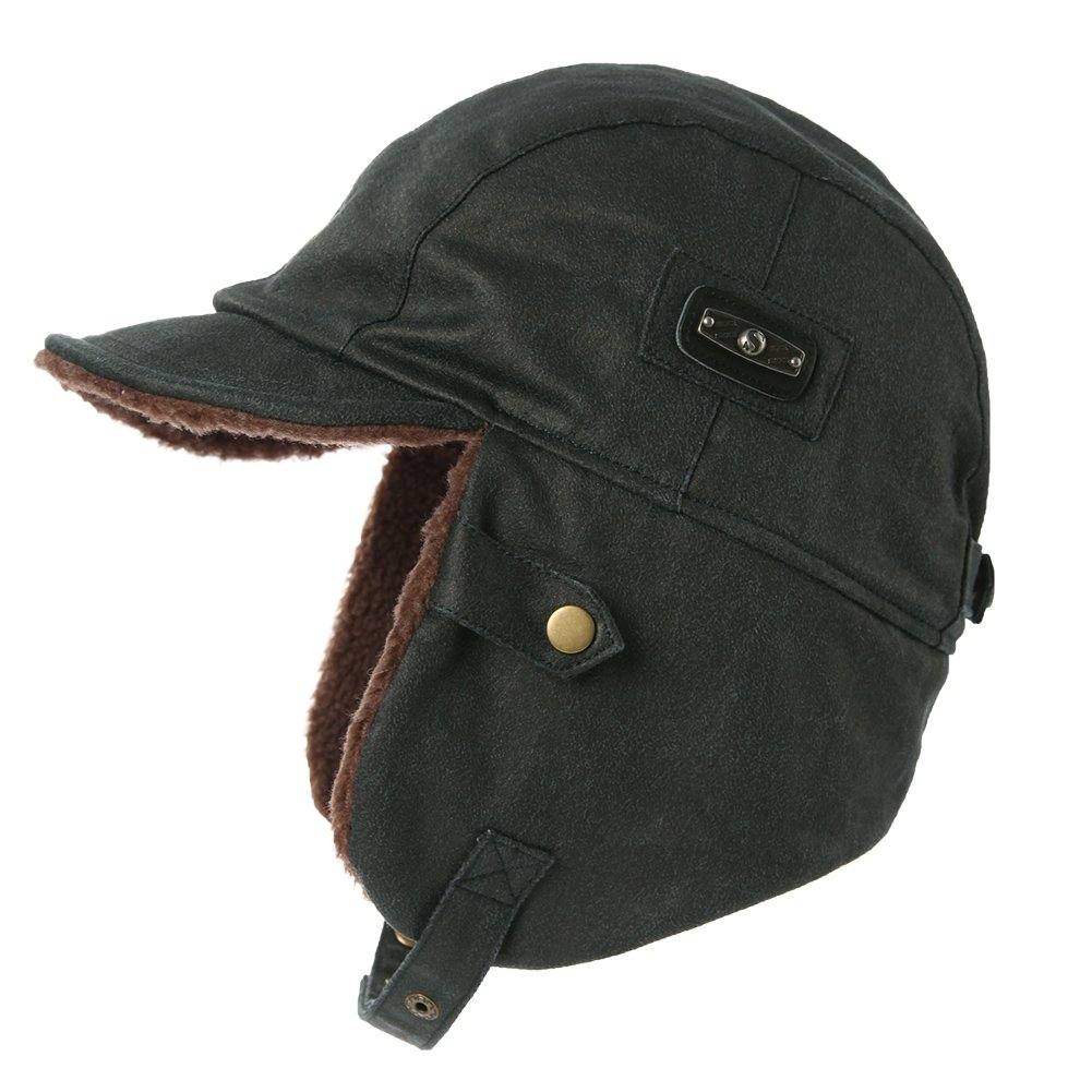 SIGGI Aviator Hat Faux Leather Pilot Cap Adult Men Winter Trapper Hunting Hats Comhats CM88115-3