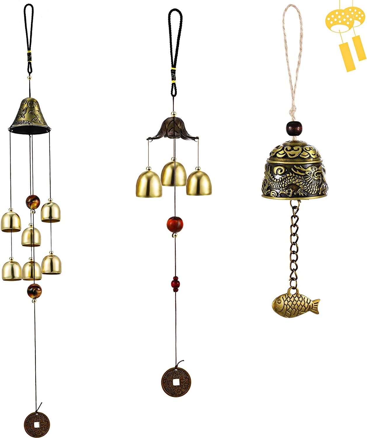 3 Pieces Feng Shui Wind Bell Lucky Wind Chimes Chinese Metal Bell Vintage Dragon and Fish Feng Shui Hanging Chime for Good Luck, Safe, Home Garden Patio Hanging Decoration, 3 Bells, 6 Bells