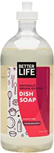 Better Life Sulfate Free Dish Soap, Tough On Grease & Gentle On Hands, Pomegranate, 22 Oz