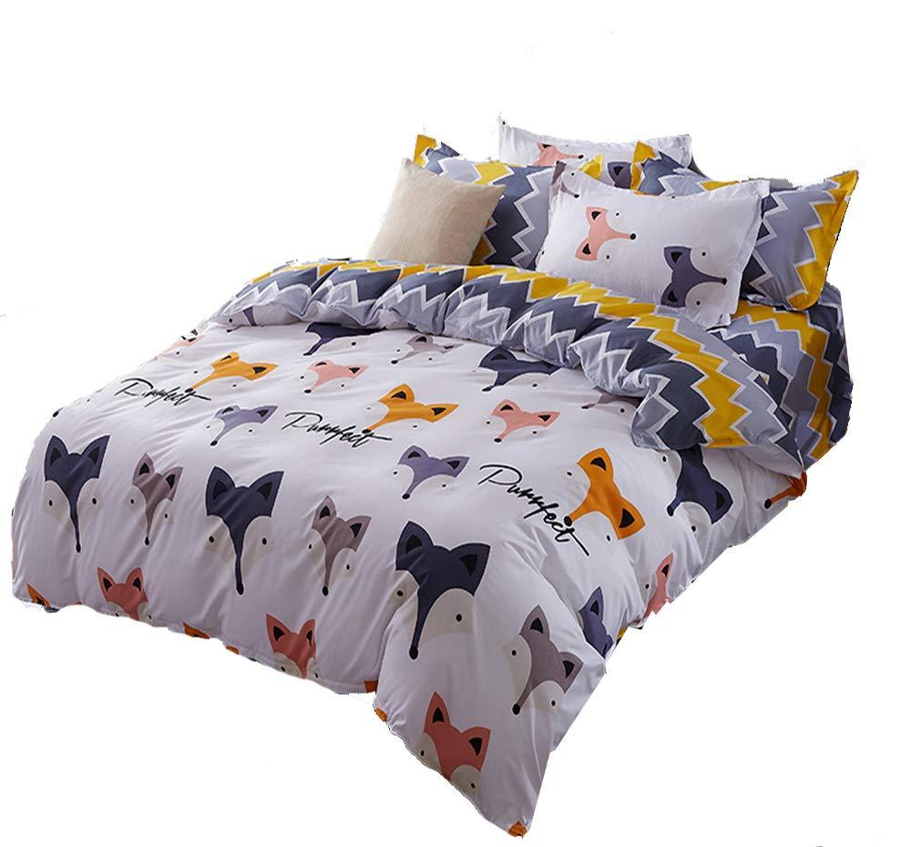 Mengersi Fox Animal Duvet Cover Set 2 Pillowcases Kids Bedding Set (Fox, King)