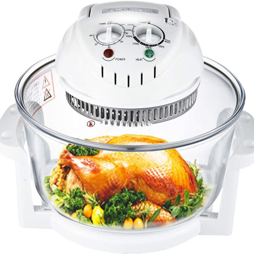 QREZ Halogen Air Fryer, Glass Air Fryer Air Fryer White Portable Oven 12L Oil Free Hot Air Health Fryer with Baking Tray Accessories Included (1300W) White