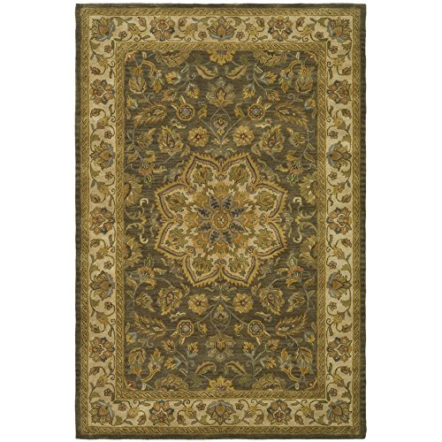 Safavieh Heritage Collection HG954A Handmade Traditional Oriental Green and Taupe Wool Area Rug (6' x 9') (Taupe Persian Runner)