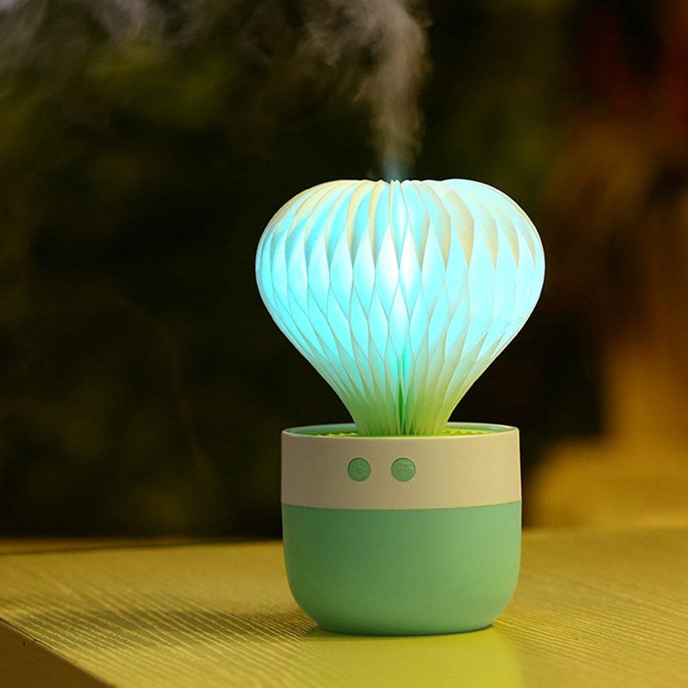 Verde VORCOOL Umidificatore a forma di cactus con LED cambia colori per regalo di Festa della Mamma