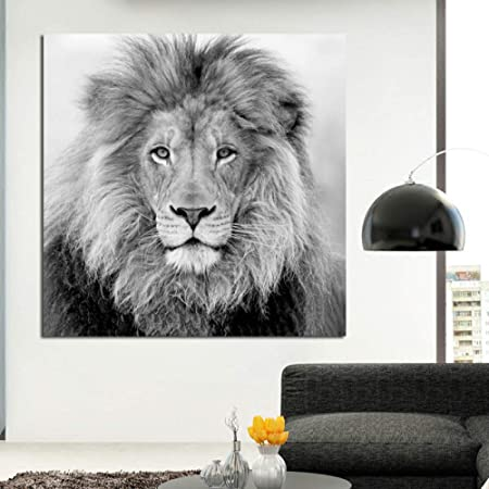 Yhyxll Mur Peinture Decorative Noir Et Blanc Lion Animal Affiche