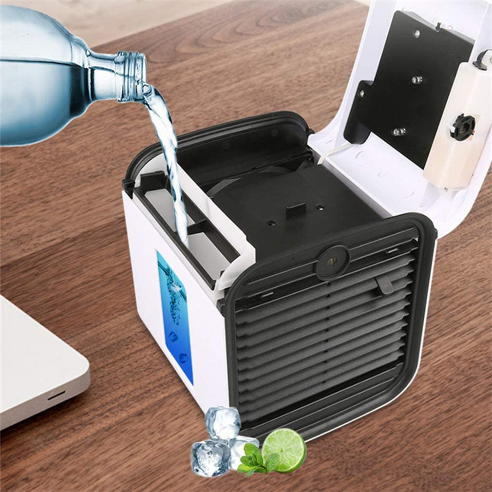 Easy to Carry USB Connection Suitable for Home Outdoor Fitness Office. 7-Color Night Lighting Blue Sterilizing Three-in-one Cooling and Humidification and Air Purification Chilly AIR Air Cooler
