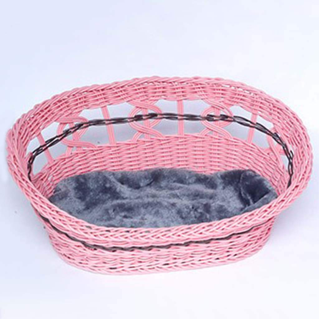 Pink MediumMiaoMiao Pull flower pet nest pet bed multisize removable and washable small pet nest summer durable rattan pet nest (color   BROWN, Size   M)
