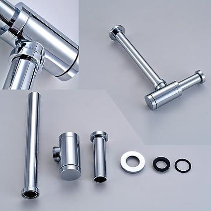Auralum® Elegante tubos - Sifón cilíndrico (latón cromo ...