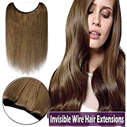 "Hidden Wire Hair Extensions 100% Human Hair Fish Line Remy Invisible Secret Wire Hairpieces No Clips No Glue for Women Beauty 16"" 60g #6 Light Brown"