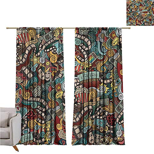 cashewii Doodle Polyester Curtain Cinema Items Combined in an Abstract Style Popcorn Movie Reel The End Theatre Masks Set of Two Panels W120 x L72 Multicolor