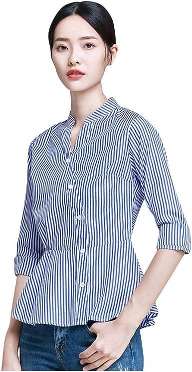 Camisa Larga Mujer Tops Deportivos Fiesta Sexy Moda Blusa Cuello para Botones Manga Corta Blusas Y Blusas AlgodóN: Amazon.es: Ropa y accesorios