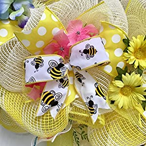 Bumble Bee Floral Spring Summer Deco Mesh Wreath 3
