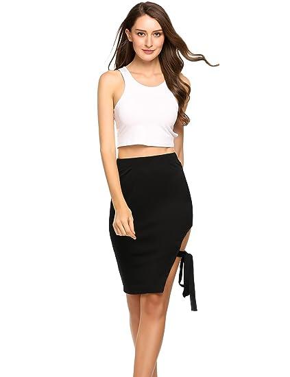 ec118da66 SHINE Women's Classic Basic Side Slit Slim Fit Office Pencil Midi Skirt ,Small,Black