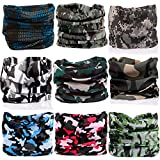 KALILY 9PCS Headband Bandana - Versatile CAMO Headwear –Multifunctional Seamless Neck Gaiter, Headwrap, Balaclava, Helmet Liner, Face Mask for Camping, Running, Cycling, Fishing etc