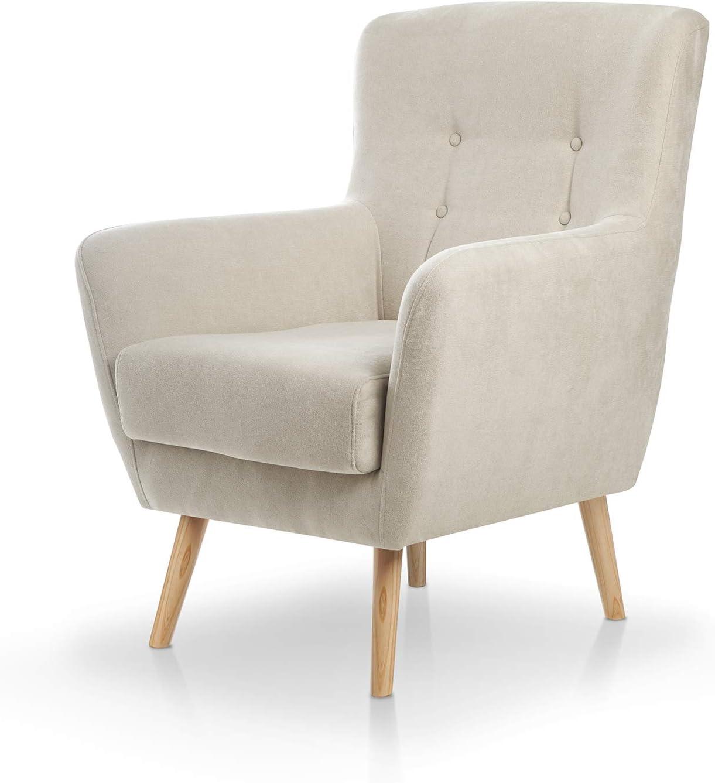 SUENOSZZZ-ESPECIALISTAS DEL DESCANSO Butaca nórdica Izan de una Plaza, sillón tapizado en Tela Antimanchas Color Beige