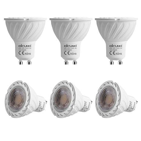 DiCUNO GU10 Bombillas LED MR16 Lámparas LED 6W, Bombillas halógenas de 60W Equivalente, Blanco