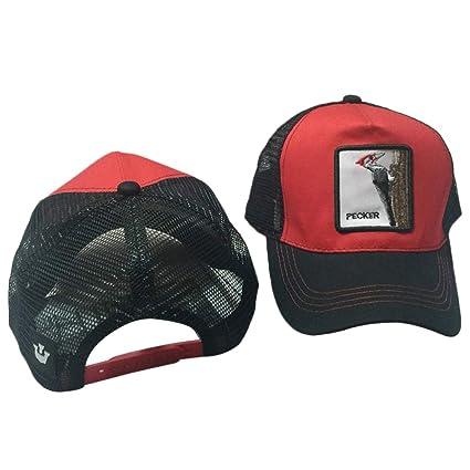 CADANIA Unisex Animal Bordado Parche Algodón Malla Gorra de béisbol  Camionero Sombrero Snapback Carpintero Rojo + e210aebbf2e