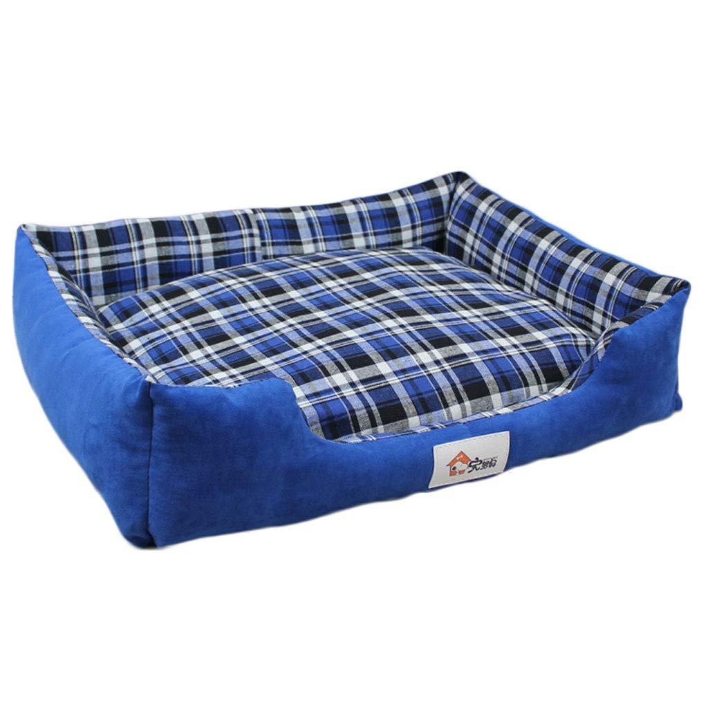 bluee 46×42×14cm bluee 46×42×14cm Square Plaid Pet Nest, Large Small Medium Dog golden Retriever Dog Bed, Household Pet Anti-Slip Mat, Universal Season (color   bluee, Size   46×42×14cm)