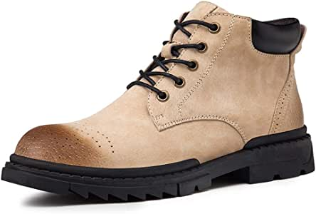 Men's Shoes-Combat Boots for Men Ankle Shoes Lace Up Genuine Leather Perforated Round Toe Stitched Anti Slip Burnished Style Flat Waxy Shoelaces Leisure (Color : Sand, Size : 43 EU)