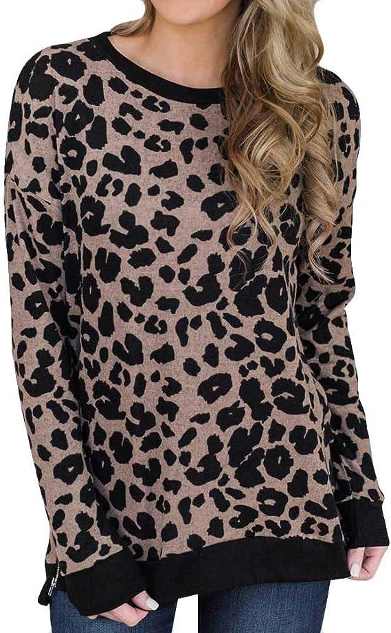 Luckycat Moda para Mujer Algodón Estampado de Leopardo ...