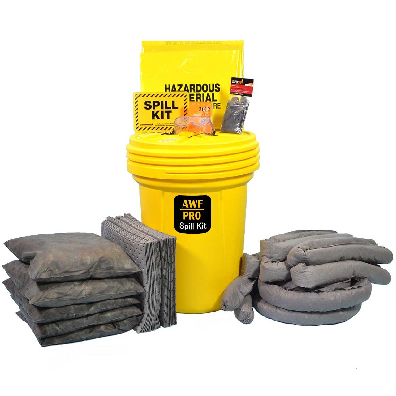 30 Gallon Universal Spill Kit Includes Overpack Drum,25 Spill Pads 15''x19'',2 Socks 3''x12',5 Socks 3''x4',5 Pillows 18''x18'', Safety Goggles, Chemical Gloves, Response Guidebook, Disposal Bag, spill sign