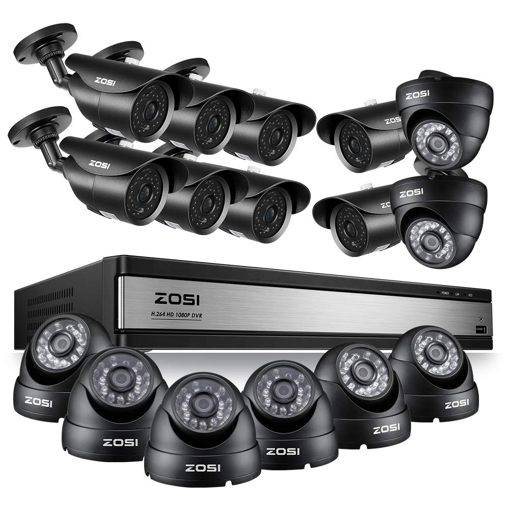 ZOSI 16CH 1080P Security System with 16pcs Outdoor Indoor Cameras Support Remote Access 120ft Night Vision Smart Motion Detection Not Include Hard Drive