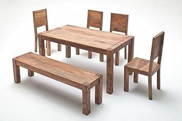 Esstisch 160 X 90 Cm Mit Stühlen Und Bank Sheesham Massiv Amazonde