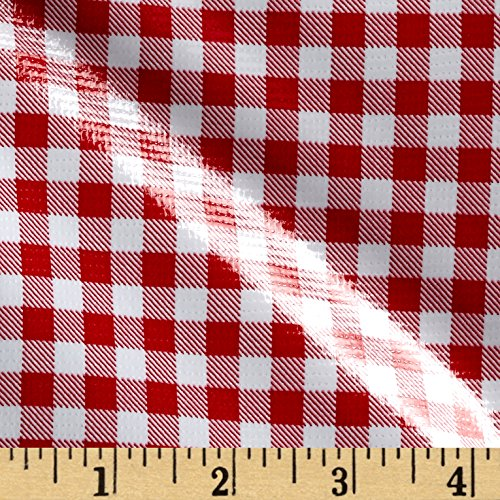 Oilcloth Gingham Red Fabric By The (Oilcloth By The Yard)