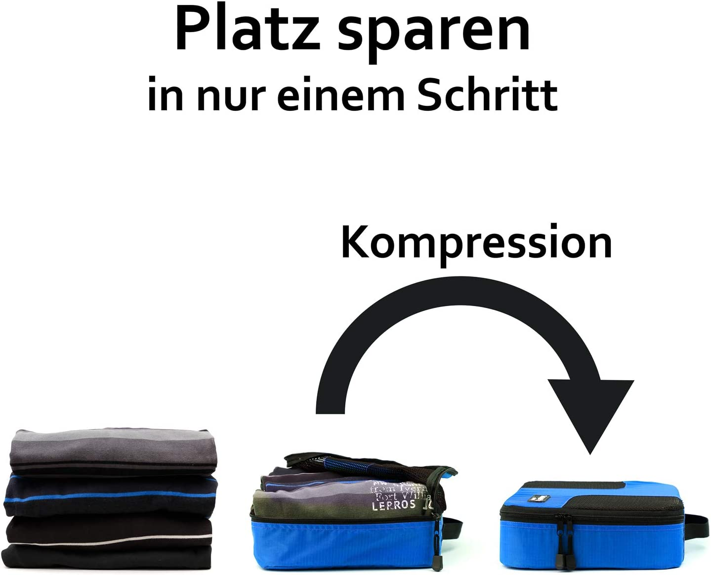 Handgepäck TraLight Packing Cubes Kleidertaschen für Koffer Packwürfel Handgepäck 4 teiliges Set Blau Reisetasche Sporttasche Packtaschen Rucksack